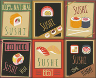 Traditional Japanese Food Cards Royalty Free Stock Images