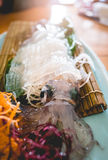Traditional japanese food, Ika (Squid) sushi on wooden table Royalty Free Stock Photography