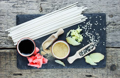 Traditional japanese food ingredients: udon noodles, ginger, ses Stock Photography