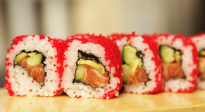 Traditional japanese food roll sushi Royalty Free Stock Images