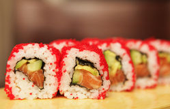 Traditional japanese food roll sushi Stock Photos