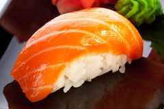 Traditional japanese food. Salmon sushi. stock images