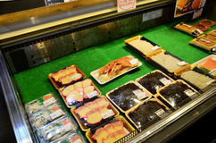 Traditional Japanese food (seafood and sushi) for sale Stock Photos