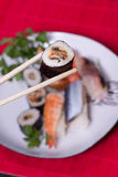 Traditional japanese food - sushi. Close up over Royalty Free Stock Photos