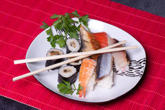 Traditional japanese food - sushi. Close up Royalty Free Stock Image