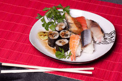 Traditional japanese food - sushi. View side Royalty Free Stock Image