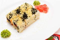 Traditional Japanese food Sushi. Closeup japanese sushi on a whi Royalty Free Stock Photo
