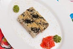 Traditional Japanese food Sushi. Closeup japanese sushi on a whi Stock Photography