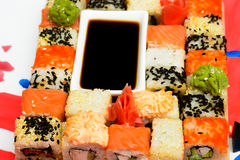 Traditional Japanese food Sushi. Royalty Free Stock Images