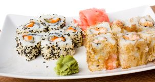 Traditional Japanese food sushi. Delicious sushi on plate Royalty Free Stock Photo