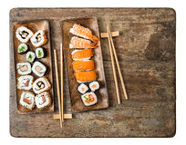 Traditional japanese food. Sushi rolls, maki, nigiri Seafood Royalty Free Stock Images