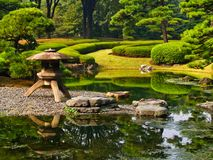 Formal Water Feature, Imperial Palace Gardens, Tokyo, Japan. Traditional Japanese formal gardens, including water feature, sculptured trees and hedges, Imperial royalty free stock images