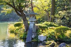 Traditional Japanese garden. Beautiful outdoor scenery landscape Stock Image