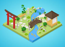 Traditional Japanese Garden with Bridge and Trees. Isometric flat 3d illustration Royalty Free Stock Photo