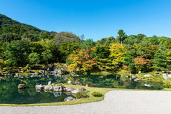 Traditional Japanese garden in early autumn, Kyoto Stock Image