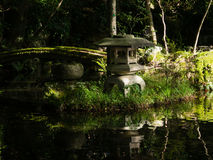 Traditional Japanese garden with pond and stone lantern Stock Images
