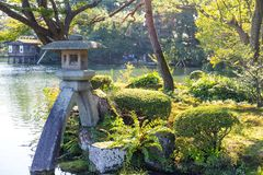 Traditional Japanese garden and stone lantern. Outdoor beautiful scenery landscape Royalty Free Stock Photos
