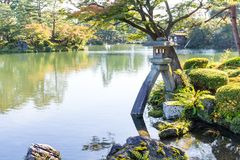 Traditional Japanese garden and water pond Royalty Free Stock Images