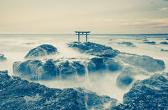 Traditional Japanese gate and sea Stock Images