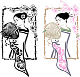 Traditional Japanese Geisha with fan Stock Photos
