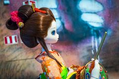 Traditional japanese girl sculpture by Takashi Murakami. From the `Murakami by Murakami` exhibition at Astrup Fearnley Museet in Oslo, Norway Stock Photos