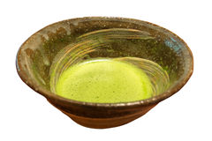 Traditional Japanese green tea isolated on white Stock Photos