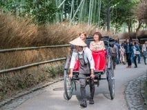 Traditional Japanese hand pulled rickshaw in Arashiyama royalty free stock photo