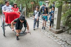 Traditional Japanese hand pulled rickshaw in Arashiyama stock image