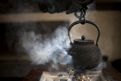 Traditional japanese hearth. Smoking.Japan,Kurokawa stock images