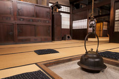 Traditional japanese home interior with fireplace, Takayama, Japan Royalty Free Stock Photos