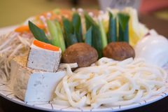 Traditional Japanese hot pot dishes royalty free stock photo