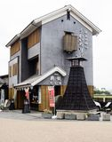 Traditional Japanese house. Gifu, Japan - October 5, 2015: Traditional style building in Kawaramachi district, serving as ticket office for Nagaragawa Cormorant stock image