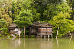 Traditional japanese house on the water columns Royalty Free Stock Images