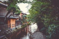 Traditional japanese houses on Shirakawa river, Gion district, K Stock Images