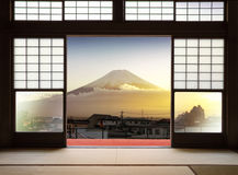 Traditional Japanese indoor  house and paper sliding doors and t Stock Image