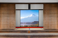 Traditional Japanese indoor  house and paper sliding doors and t Royalty Free Stock Image