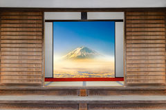 Traditional Japanese indoor house and paper sliding doors and ta Stock Photo