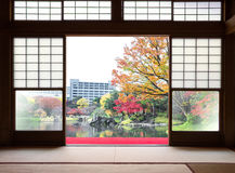 Traditional Japanese indoor house and paper sliding doors and royalty free stock image
