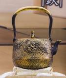 Traditional Japanese iron teapot Stock Photo