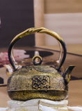Traditional Japanese iron teapot Stock Images