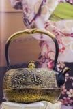 Traditional Japanese iron teapot Stock Photos