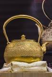 Traditional Japanese iron teapot Royalty Free Stock Photos