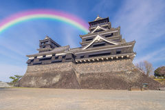 traditional Japanese Kumamoto Castle with blue sky Stock Images