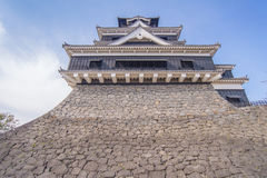 traditional Japanese Kumamoto Castle with blue sky Stock Photography