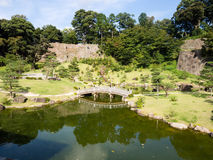 Traditional Japanese landscape garden on the grounds of Kanazawa castle Royalty Free Stock Photos
