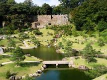 Traditional Japanese landscape garden on the grounds of Kanazawa castle Royalty Free Stock Photography
