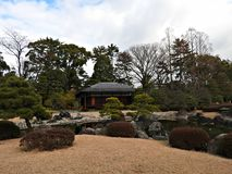 Traditional Japanese Landscape Garden at Nijo Castle, Kyoto, Japan Stock Photo