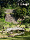 Traditional Japanese Landscape Garden With Pond And Wooden Arched Bridge Royalty Free Stock Photo