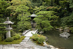 Traditional japanese landscaped garden in kyoto japan Royalty Free Stock Photo