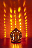 Traditional japanese lantern with candle inside Royalty Free Stock Photography